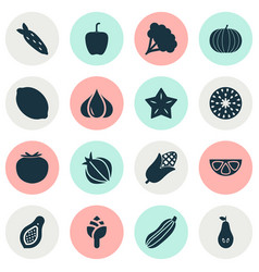 fruit icons set with bell pepper root vegetable vector image