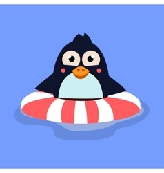 Funny Swimming Penguin with Lifebuoy vector image