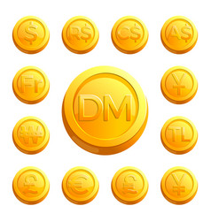 Gold shiny coins with money signs of various vector