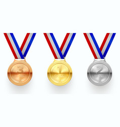 gold silver and bronze medals realistic vector image