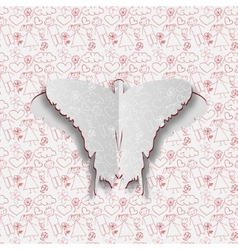 Greeting card with paper butterfly on the hand vector image