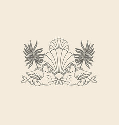Hand drawn antique hippocampus shell palm vector