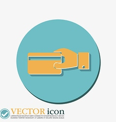 Hand holding credit card credit card in hand vector image