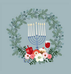 Happy hanukkah greeting card invitation with hand vector