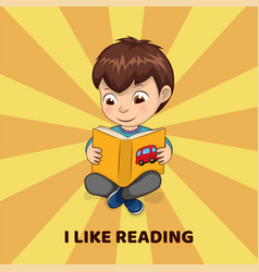 i like reading poster with boy who holds book vector image