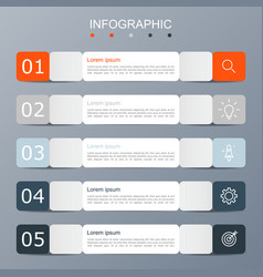 infographic template with the image 5 rectangles vector image
