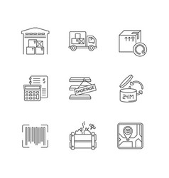 Inventory management pixel perfect linear icons vector