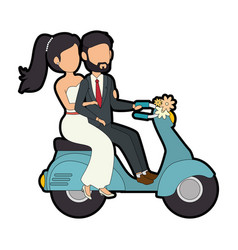 Isolated newlywed couple motorcycle vector