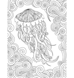 jellyfish in entangle inspired style on white vector image