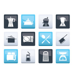 Kitchen and household equipment icons vector