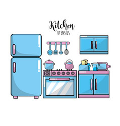 Kitchen utensils traditional object element vector