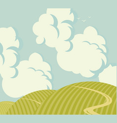 Landscape with green hills and cloudy sky vector