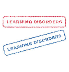 learning disorders textile stamps vector image