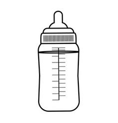 Line plastic bottle feeding baby nutrition vector