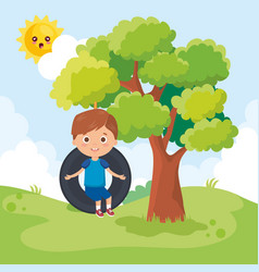 Little boy playing on the park vector