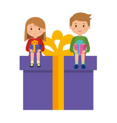 little kids sitting in gift with winter clothes vector image