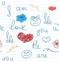 Love doodle note background vector image