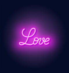 love neon lettering on dark background vector image