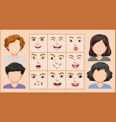 male and female facial expression vector image