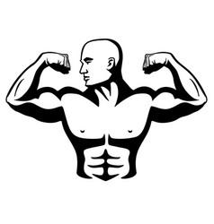 male bodybuilder flexing muscles vector image