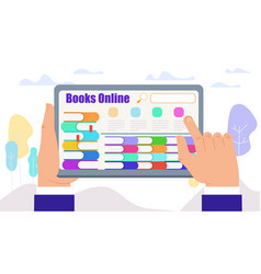 male hands touch tablet with books on screen vector image