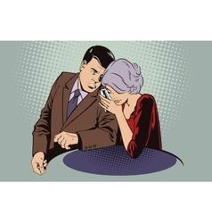 Man and woman conducting a secret conversation vector image