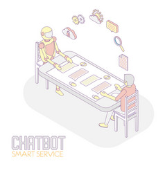 mobile chatbot isometric vector image