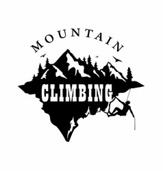 Mountain climbing black and white logo vector