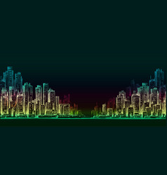 night city background hand drawn vector image