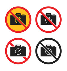 no photography icons no camera sign set vector image