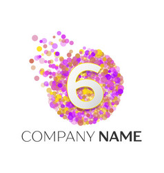 Number six logo red particles and bubble dots vector