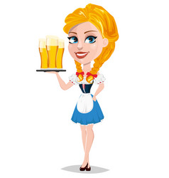 oktoberfest with sexy redhead girl holding tray vector image