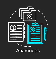 Patient anamnesis concept chalk icon clinical vector