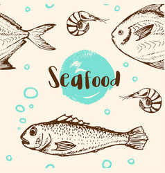 Pattern with shrimp and fish vector