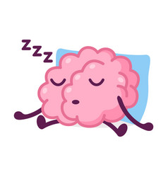 Pink brain sleeping on pillow and snoring funny vector
