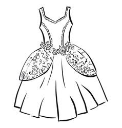 Retro dress outline vector
