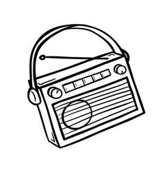 retro radio in doodle style vector image