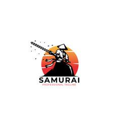 Samurai logo template with sun background vector