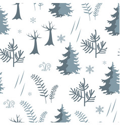 seamless forest pattern fir trees and herbs vector image