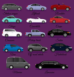 set of car body types vector image
