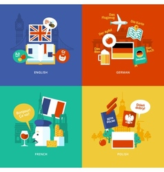 Set of flat design concept icons for foreign vector