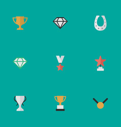 Set of simple reward icons elements goblet medal vector