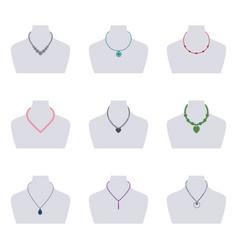 set women necklaces vector image