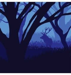 Silhouette deer in the forest vector image