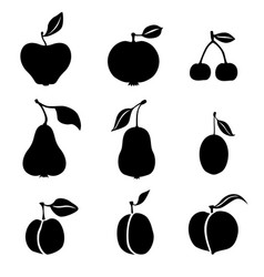 silhouette fruits icon set vector image