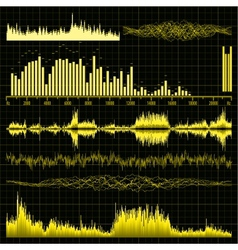 Sound waves set Music background EPS 8 vector image