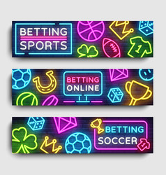 Sports betting horizontal banners design vector