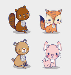 Squirrel bunny and fox doodle cartoons vector