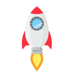 start up flat line icon business and rocket vector image