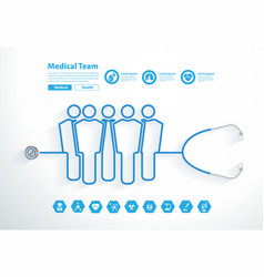 stethoscope medical team tubing forming group vector image